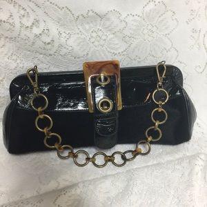 Vintage Tortoise & Black Mohair Chain Clutch Bag